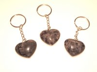 Larvikite / Norwegian Moonstone Gemstone Heart Keyring