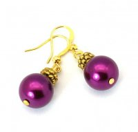 Magenta Glass Pearl Tibetan Styled Earrings