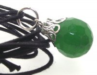 Faceted Green Malaysian Jade 14mm Gemstone Crystal Sphere Pendant