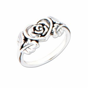Handcarved Rose Sterling Silver Ring