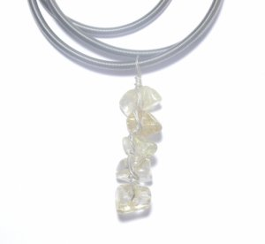 Angel Hair Quartz Nugget Chip Pendant with Stretch necklace