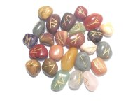 Mixed Gemstone Elder Furthark Rune Set With Pouch - Small
