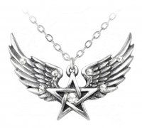 O Fortuna Winged Pentagram Pendant