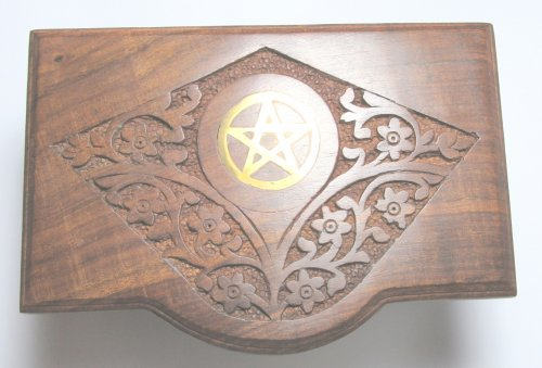 Pentagram Ornate Carved Wooden Storage Chest