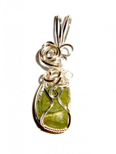 Peridot Wire Wrapped Gemstone Crystal Pendant - various designs available