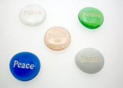 Peace Etched Glass Pebble