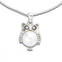 Pearl Sterling Silver Owl Pendant