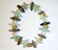 Pearl, Tourmaline, Aquamarine And Citrine Bracelet