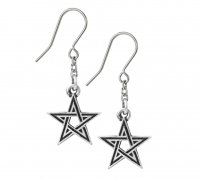 Black Star Pentagram Earrings