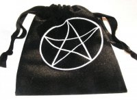 Pentagram Black Velvet / Crystals / Runes Bag
