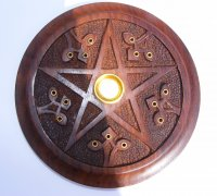 Wooden Ornate Pentagram Incense And Cone And Holder