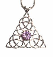 Pink Tourmaline Triquetra Inspired Pendant with Chain