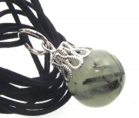 Prehnite Gemstone Crystal 14mm Sphere Pendant