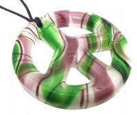 Purple and Green Glass Peace Sign Pendant