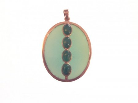 Blue Chalcedonny and Green Agate Reversible Pendant