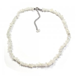 "Rainbow Moonstone 18"" Chip Gemstone Necklace"