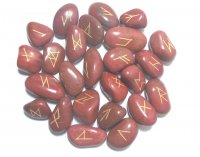 Red Jasper Elder Futhark Rune Set With Pouch - various sizes