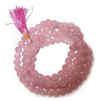 Rose Quartz Gemstone Mala Prayer Beads - 108 - with Pouch