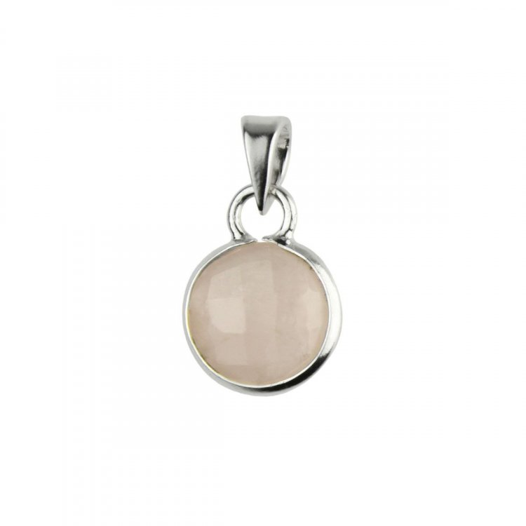 Rose Quartz Facetted Cabachon Sterling Silver Pendant