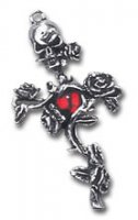 Rose Thorn Cross Single Alchemy Gothic Pewter - Earring