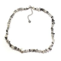 "Black Rutilated Quartz 18"" Chip Gemstone Necklace"