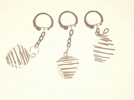Large Silver Square Spiral Cage Keyring