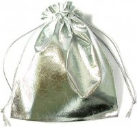 Silver Metallic Drawstring Pouch Bag