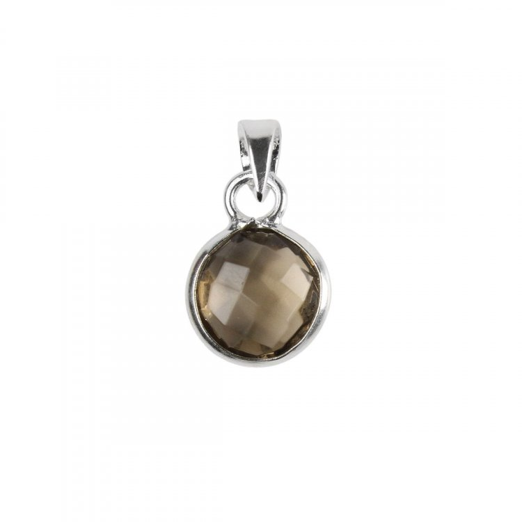 Smokey Quartz Facetted Cabachon Sterling Silver Pendant
