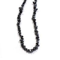 "Snowflake Obsidian 18"" Chip Gemstone Necklace"