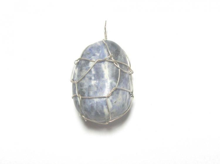 Sodalite Wire Wrapped Gemstone Crystal Pendant 3