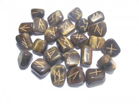 Tiger Eye Elder Futhark Rune Set With Pouch - Medium or Large