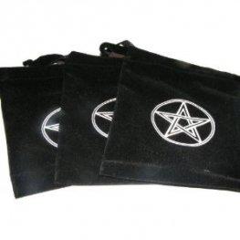 Velvet Pentacle Tarot Bag Pentagram Black Gift Bag Jewellery Drawstring Pagan