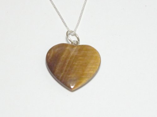 Tiger Eye Heart Sterling Silver Pendant with Chain