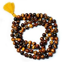 Tiger Eye Gemstone Mala Prayer Beads - 108 - with Pouch