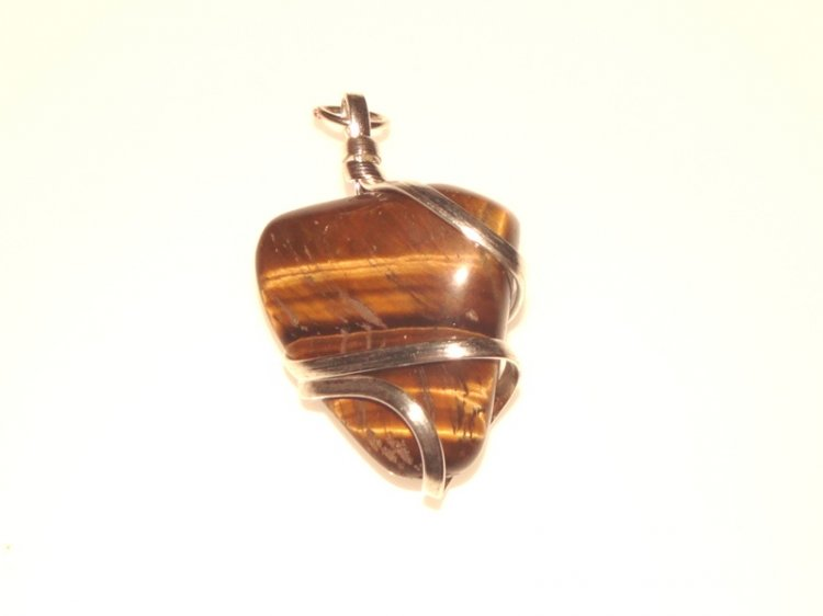 Tiger Eye Wire Sculpted Gemstone Pendant 1