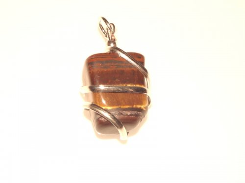 Tiger Iron Wire Sculpted Gemstone Pendant