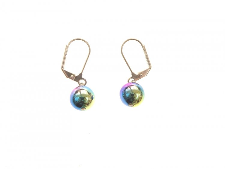 Rainbow Titanium Hematite Sphere Earrings