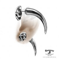 Tomb Skull Horn Spike Faux Ear Stretcher Stud
