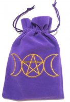 Triple Moon Goddess Embroidered Luxury Pouch