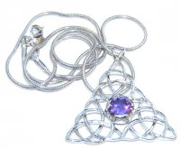 Triple Triquetra Amethyst Pendant With Snake Chain