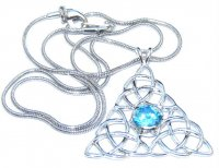 Triple Triquetra Blue Topaz Pendant With Snake Chain
