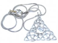 Triple Triquetra Quartz Pendant With Snake Chain