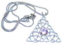 Triple Triquetra Tourmaline Pendant With Snake Chain