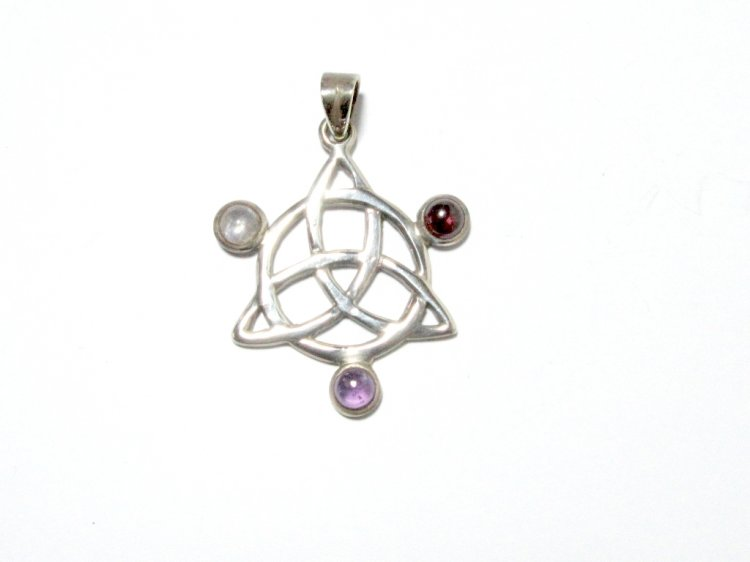 Assorted gemstone triquetra pendant 14 20954 1995 the gem assorted gemstone triquetra pendant 14 larger image mozeypictures Image collections