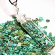Turquoise Glass Spell Bottle Pendant Wicca Healing