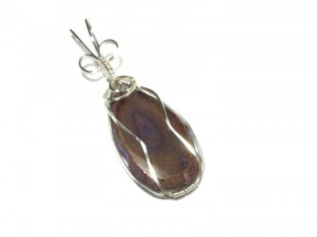 Violet Agate Slice Wire Wrapped / Sculpted Pendant 1