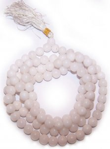 White Quartz Gemstone Mala Prayer Beads - 108 - with Pouch