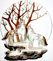 Wolves Scene Handmade Glass Sculpture with 22K Gold