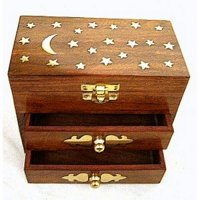 Moon and Stars Carved Wooden Storage Chest - three compartments
