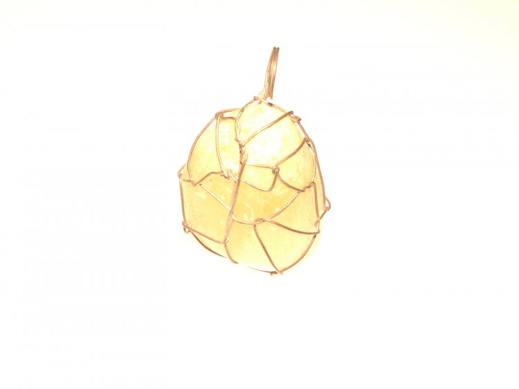 Yellow Calcite Gemstone Wire Wrapped Pendant